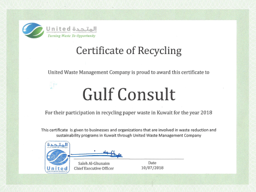 GC has recently been awarded a Certificate of Recycling from United Waste Management